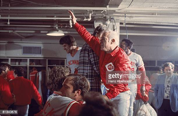 Baseball World Series Cincinnati Reds manager Sparky Anderson victorious in locker room after winning Game 7 and series vs Boston Red Sox Boston MA