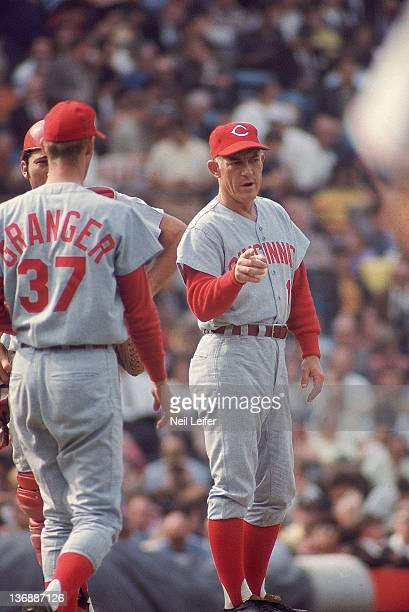 Baseball World Series Cincinnati Reds manager Sparky Anderson with Johnny Bench making pitching change for Wayne Granger during Game 3 vs Baltimore...