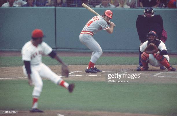 Baseball World Series Cincinnati Reds Pete Rose in action at bat vs Boston Red Sox Game 1 Boston MA