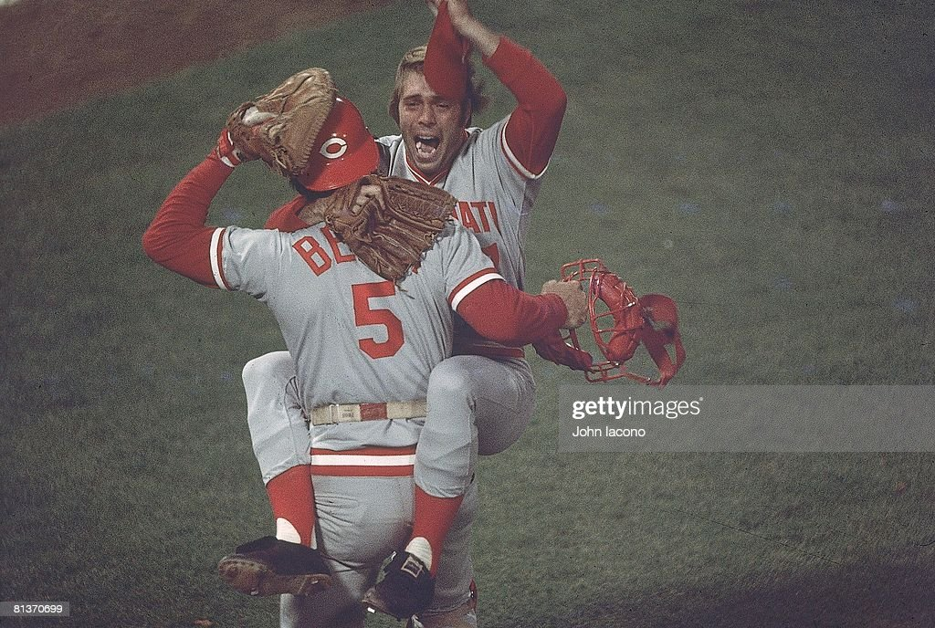 World Series, Cincinnati Reds Will McEnaney (37) victorious, jumping into arms of Johnny Bench (5) after winning Game 7 and series vs Boston Red Sox, Cover, Boston, MA