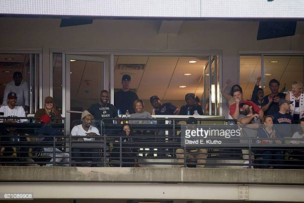 World Series Cleveland Cavaliers player LeBron James with wife Savannah Brinson in luxury box during Cleveland Indians vs Chicago Cubs Game 7 at...