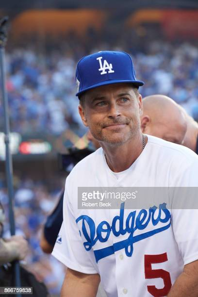 World Series Closeup of actor Rob Lowe in stands before Los Angeles Dodgers vs Houston Astros game at Dodger Stadium Game 1 Los Angeles CA CREDIT...
