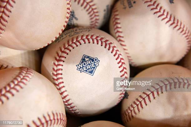 World Series Closeup of baseballs with World Series logo during Houston Astros vs Washington Nationals game at Minute Maid Park Game 6 Equipment...