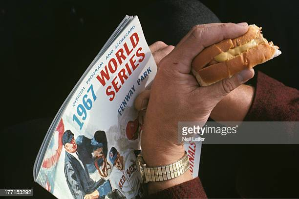 World Series Closeup of fan with hot dog and program during Boston Red Sox vs St Louis Cardinals game at Fenway Park Boston MA CREDIT Neil Leifer
