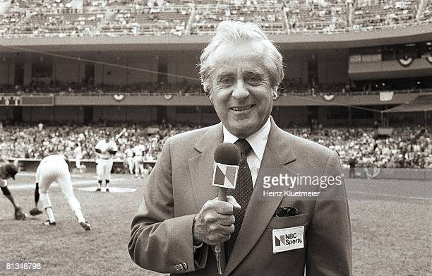 Baseball World Series Closeup of NBC Sports media announcer Curt Gowdy before Game 3 of New York Yankees vs Los Angeles Dodgers series Bronx NY