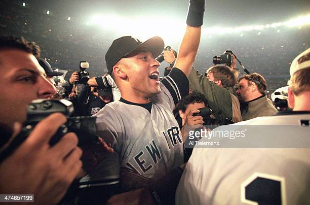 World Series Closeup of New York Yankees Derek Jeter victorious after winning Game 5 and championship series vs New York Mets at Shea Stadium Bronx...