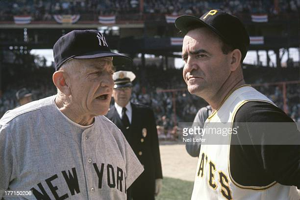 World Series Closeup of New York Yankees manager Casey Stengel and Pittsburgh Pirates manager Danny Murtaugh on field before game at Forbes Field...