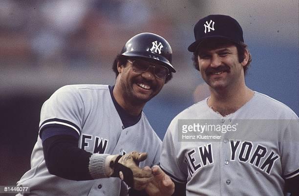 Baseball World Series Closeup of New York Yankees Reggie Jackson and Thurman Munson before game vs Los Angeles Dodgers Los Angeles CA
