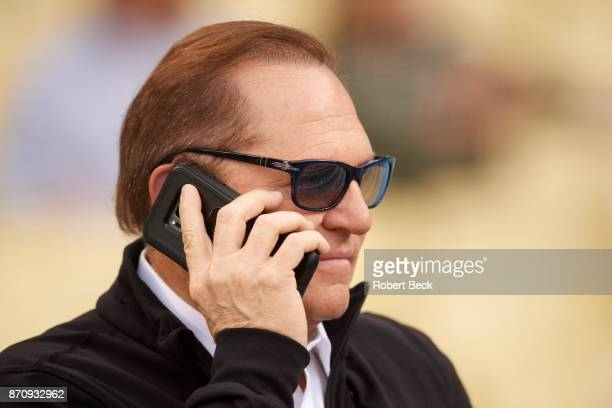 World Series Closeup of sports agent Scott Boras on cellphone before Los Angeles Dodgers vs Houston Astros game at Dodger Stadium Game 6 Los Angeles...