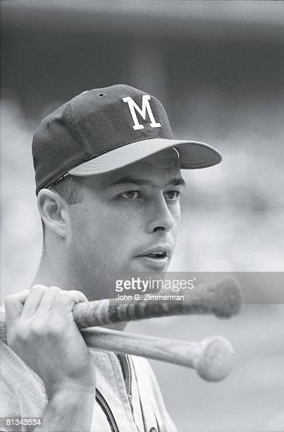 Baseball World Series Closeup portrait of Milwaukee Braves Eddie Mathews before game vs New York Yankees 10/1/1958