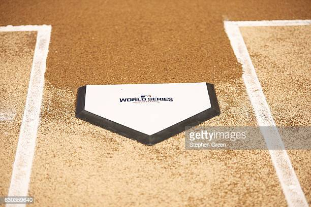 World Series Closeup view of home plate with 2016 World Series logo before Chicago Cubs vs Cleveland Indians game Game 3 Equipment Chicago IL CREDIT...