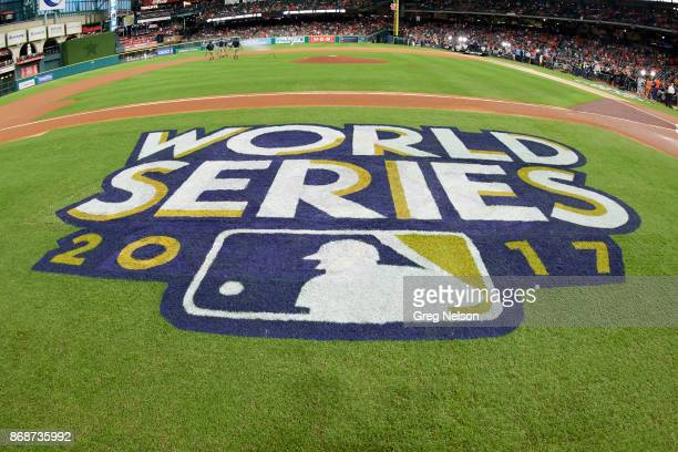 World Series Closeup view of World Series 2017 logo on grass before Houston Astros vs Los Angeles Dodgers game at Minute Maid Park Game 3 Houston TX...