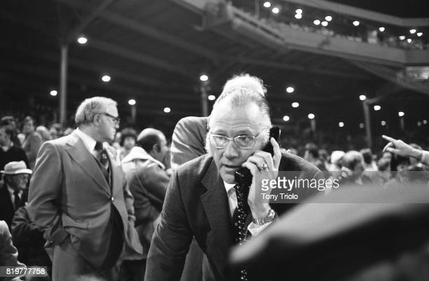 World Series Commissioner Bowie Kuhn on phone in stands during Boston Red Sox vs Cincinnati Reds at Fenway Park Game 2 Boston MA CREDIT Tony Triolo