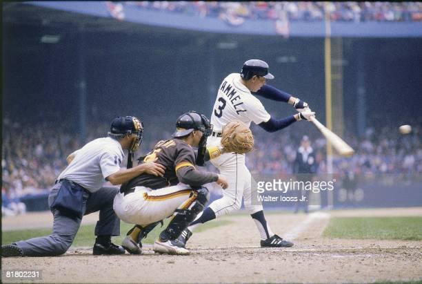 Baseball World Series Detroit Tigers Alan Trammell in action hitting 2nd HR vs San Diego Padres Detroit MI