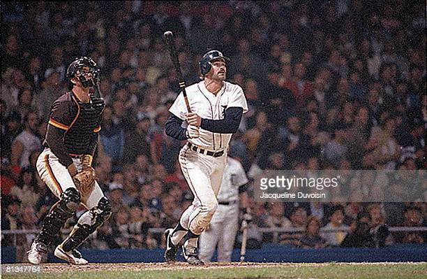 Baseball World Series Detroit Tigers Kirk Gibson in action hitting HR vs San Diego Padres Detroit MI