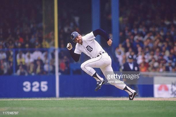 World Series Detroit Tigers Kirk Gibson in action running bases vs San Diego Padres at Tiger Stadium Detroit MI CREDIT John Iacono