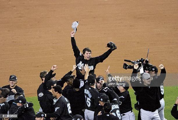 Baseball World Series Florida Marlins Josh Beckett victorious after winning Game 6 and series vs New York Yankees Cover Bronx NY