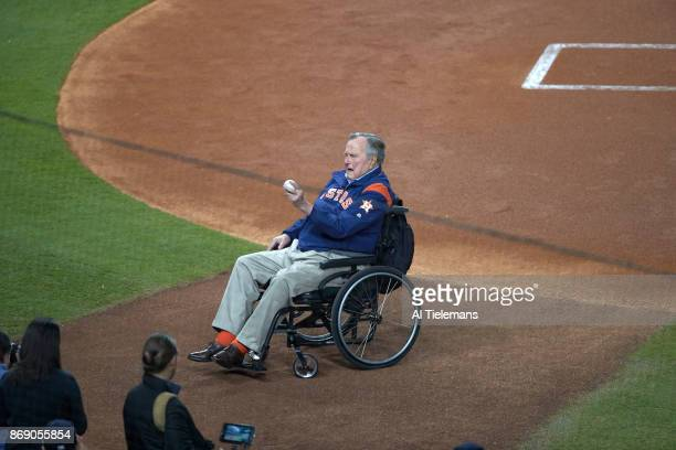 World Series Former United States President George HW Bush before ceremonial first pitch on field before game vs Los Angeles Dodgers at Minute Maid...
