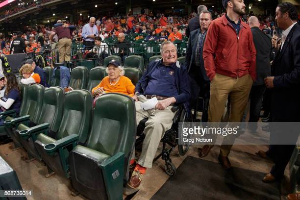 World Series Former USA President George HW Bush with wife Barbara in stands before Houston Astros vs Los Angeles Dodgers game at Minute Maid Park...