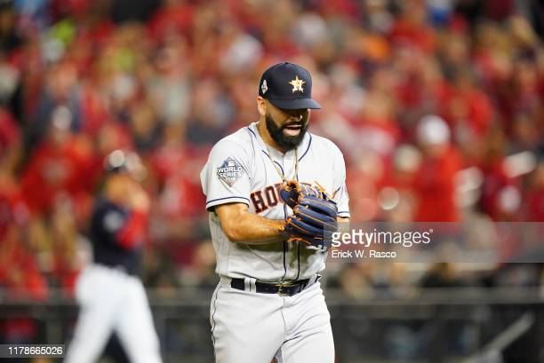 World Series Houston Astros Jose Urquidy victorious during game vs Washington Nationals at Nationals Park Game 4 Washington DC CREDIT Erick W Rasco