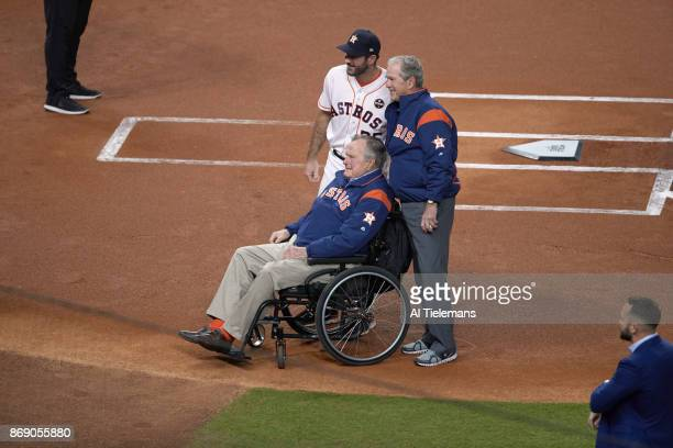 World Series Houston Astros Justin Verlander posing for picture with former Presidents George HW Bush and George W Bush before ceremonial first pitch...