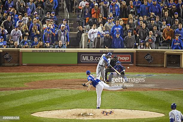 World Series Kansas City Royals Eric Hosmer in action hitting RBI double during 9th inning at bat vs New York Mets Matt Harvey at Cit Field Game 5...