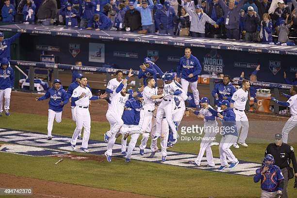 World Series Kansas City Royals Eric Hosmer victorious on field with teammates after game winning sacrifice fly vs New York Mets during 14th inning...