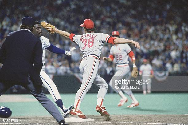 Baseball World Series Kansas City Royals Jorge Orta in action running bases vs St Louis Cardinals Todd Worrell Game 6 Kansas City MO