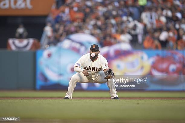 World Series Kansas City Royals Pablo Sandoval in action fielding vs San Francisco Giants at ATT Park Game 3 Sandoval blowing bubble gum San...