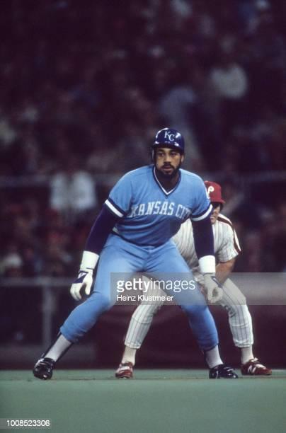 World Series Kansas City Royals Willie Aikens in action taking lead from first base vs Philadelphia Phillies at Veterans Stadium Game 2 Philadelphia...