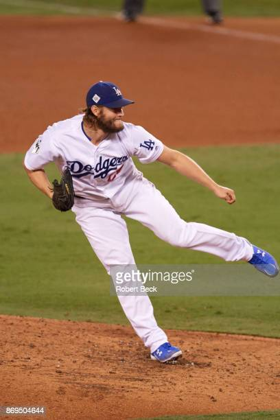 World Series Los Angeles Dodgers Clayton Kershaw in action pitching vs Houston Astros at Dodger Stadium Game 7 Los Angeles CA CREDIT Robert Beck