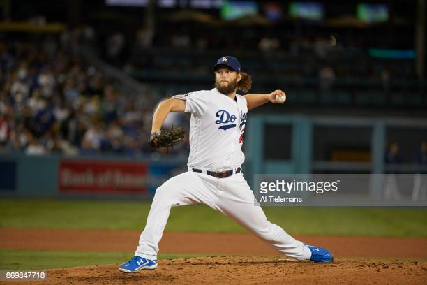 World Series Los Angeles Dodgers Clayton Kershaw in action pitching vs Houston Astros at Dodger Stadium Game 7 Los Angeles CA CREDIT Al Tielemans