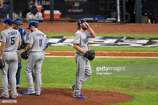 World Series Los Angeles Dodgers Clayton Kershaw upset on mound during game vs Houston Astros at Minute Maid Park Game 5 Houston TX CREDIT Greg Nelson