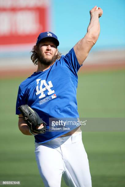 World Series Los Angeles Dodgers Clayton Kershaw warming up before game vs Houston Astros at Dodger Stadium Game 2 Los Angeles CA CREDIT Robert Beck