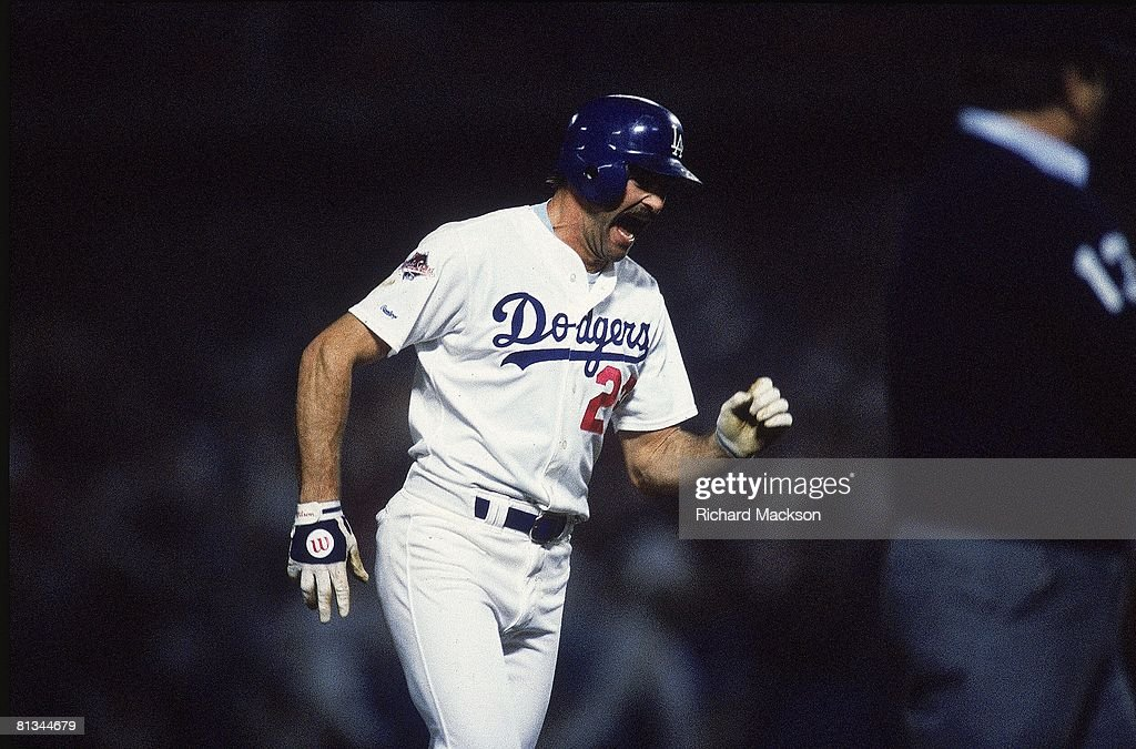 World Series, Los Angeles Dodgers Kirk Gibson in action and victorious with injury after hitting game winning HR vs Oakland Athletics, Los Angeles, CA