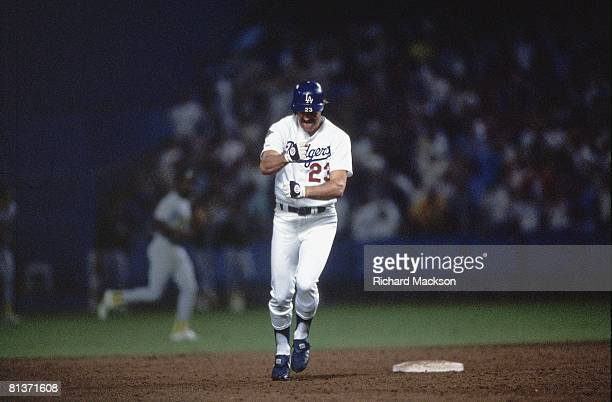 Baseball World Series Los Angeles Dodgers Kirk Gibson in action and victorious with injury after hitting game winning HR vs Oakland Athletics Los...