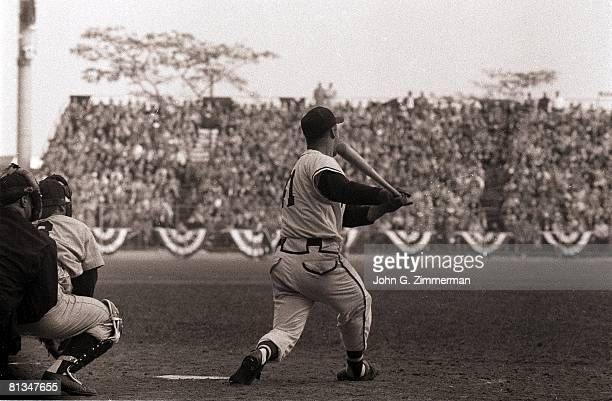 Baseball World Series Milwaukee Braves Eddie Mathews in action hitting game winning 10th inning HR vs New York Yankees Milwaukee WI 10/6/1957