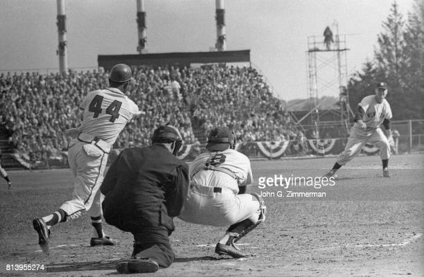 World Series Milwaukee Braves Hank Aaron in action at bat vs New York Yankees at County Stadium Game 3 Milwaukee WI CREDIT John G Zimmerman