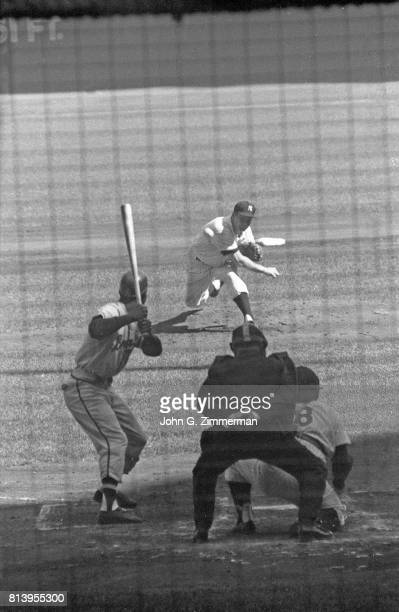 World Series Milwaukee Braves Hank Aaron in action at bat vs New York Yankees at Yankee Stadium Game 6 Bronx NY CREDIT John G Zimmerman