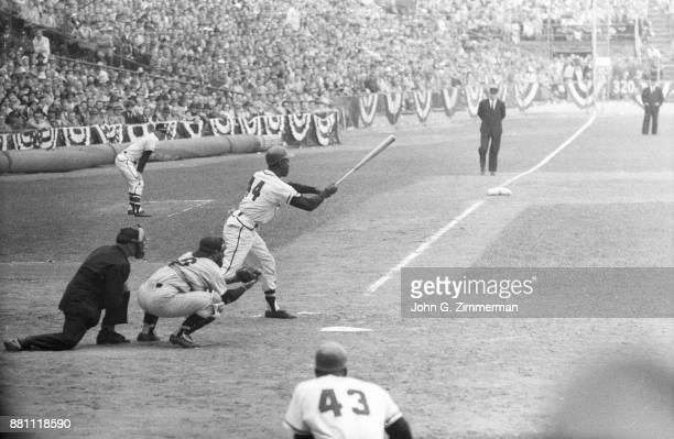 World Series Milwaukee Braves Hank Aaron in action at bat vs New York Yankees at Milwaukee County Stadium Game 4 Milwaukee WI CREDIT John G Zimmerman