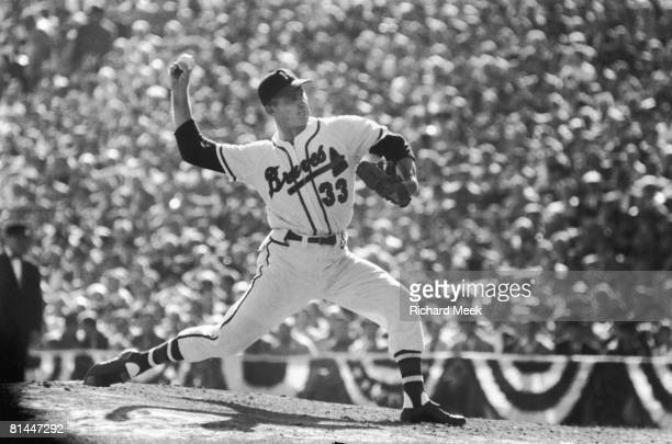 Baseball World Series Milwaukee Braves Lew Burdette in action pitching vs New York Yankees Game 5 Milwaukee WI 10/7/1957