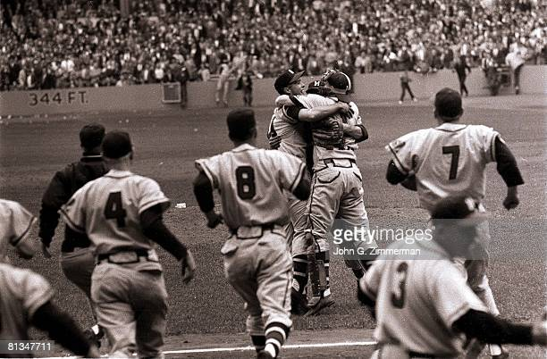 Baseball World Series Milwaukee Braves victorious after winning game vs New York Yankees Bronx NY