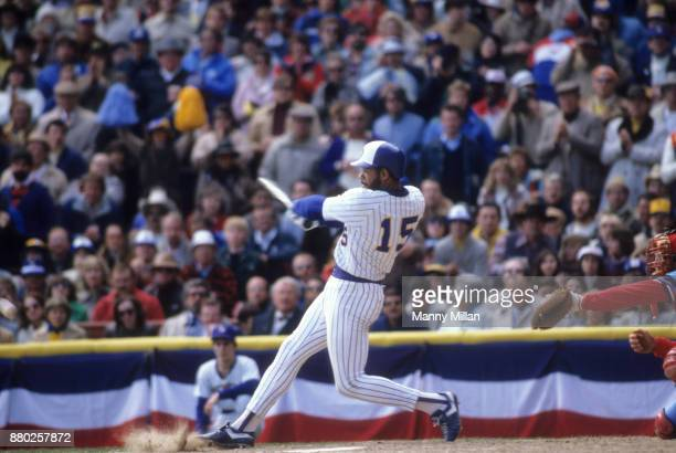 World Series Milwaukee Brewers Cecil Cooper in action at bat vs St Louis Cardinals at Milwaukee County Stadium Game 4 Milwaukee WI CREDIT Manny Millan
