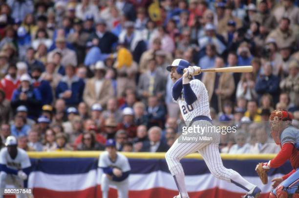 World Series Milwaukee Brewers Gorman Thomas in acton at bat vs St Louis Cardinals at Milwaukee County Stadium Game 4 Milwaukee WI CREDIT Manny Millan