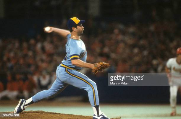 World Series Milwaukee Brewers Mike Caldwell in action pitching vs St Louis Cardinals at Busch Stadium Game 1 St Louis MO CREDIT Manny Millan