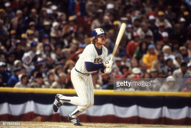 World Series Milwaukee Brewers Robin Yount in action at bat hitting home run vs St Louis Cardinals at Milwaukee County Stadium Game 5 Milwaukee WI...