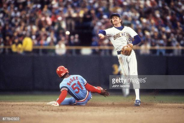 World Series Milwaukee Brewers Robin Yount in action turning double play vs St Louis Cardinals at Milwaukee County Stadium Game 5 Milwaukee WI CREDIT...