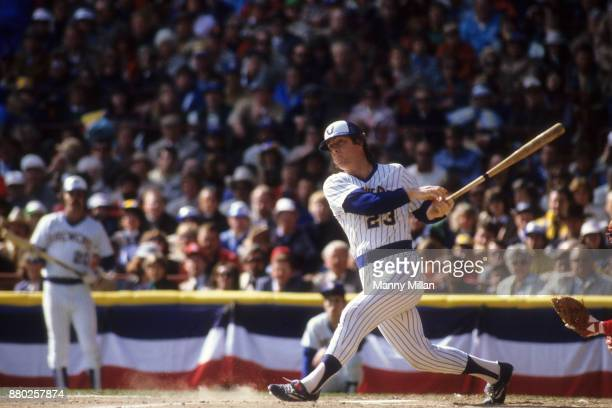 World Series Milwaukee Brewers Ted Simmons in action at bat vs St Louis Cardinals at Milwaukee County Stadium Game 4 Milwaukee WI CREDIT Manny Millan