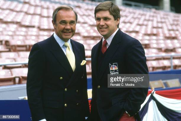 World Series NBC play by play announcer Dick Enberg with color analyst Tom Seaver before St Louis Cardinals vs Milwaukee Brewers game at Busch...