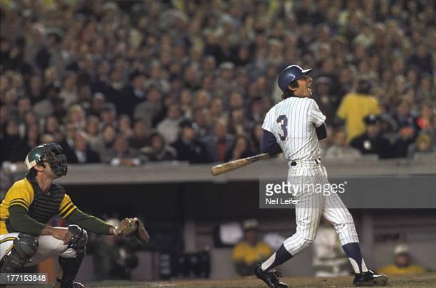 World Series New York Mets Bud Harrelson in action at bat vs Oakland Athletics at Shea Stadium Game 5 Flushing NY CREDIT Neil Leifer